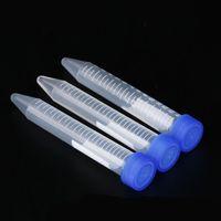 Tubes de centrifugeuse en plastique transparentes, 15 ml, fond conique, marques graduées, avec capuchon de vis bleu non fuite de marques graduées