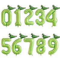 Dinosaurio 40 pulgada número de papel globos verde número globo selva fiesta helio globo cumpleaños baby shower globos decoración Y0622