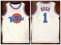 Schiff aus US-Bugs # 1 Tune Squad Space Jam Basketball Jersey Film Herren Alle genähten weißen Trikots Größe S-3XL Top Qualität
