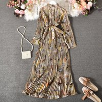 Casual Dresses Pleated Vintage Dress Woman Long Sleeve Ankle-Length Party For Women 2021 Stand Sashes Boho Maxi Autumn