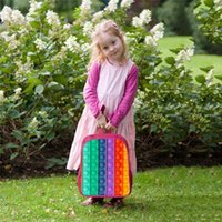 Decompression toy 12 16 inch rainbow backpack 3D printing cartoon pops push bubble school bag kindergarten animation children fashion DHL free