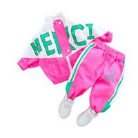 Fashion Spring Automne Baby Girl Vêtements Enfants Boys Casual Lettre Veste Pantalons 2PCS / Set Toddler Costume Costume Enfants Tracksuits 210225