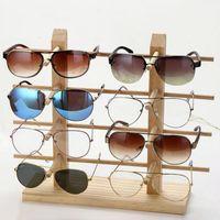 Multi capas de madera Pantalla de gafas de sol estantería EyeGlasses Mostrar soporte Soporte de joyería para pares de múltiples Gafas Showcase Mujeres