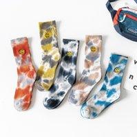 Socks Streetwear Embroidery Smile Face Tie Dye Hip Hop Men Women Harajuku Fashion Casual Casual Cotton Sock