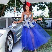 Африканская мода сексуальная смотрите через королевские голубые длинные тульские юбки женщин 2021 эластичная линия всего 3 слоя юбка TUTU Maxi юбка