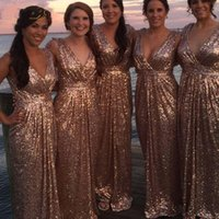 Parlak Payetli V Boyun Gül Altın Uzun Gelinlik Modelleri 2021 Gelin Grup Düğün Elbise Kadın Glitter Sparkle Konuk Gelinlik Artı