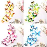 12 قطع 3d صائق الملونة الفراشات ملصقات الحائط غرفة ديكور المنزل الاطفال diy 603 s2