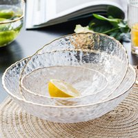 Dishes & Plates Nordic Golden Border Salad Bowl Transparent Glass Fruit Plate Dessert Round Square Tableware