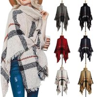 Women's Sweaters Poncho Sweater Women Fringed Stripe Knit Pullover Cape Coat High Collar Vintage Shawl Scarf Panchos Female Winter