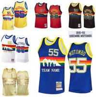 Hombres personalizados Mujeres Jóvenes S-6XL Jerseys de baloncesto 55 Dikembe Mutombo Mitchell Ness 1991-92 Hardwoods Classics Retro Jersey