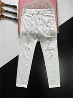 Mens Jeans Designer Luxurys Designe Baumwolle Weiße Hose aus Patch Loch Distressed Slim Bein Mode Lässige Straße Straight Business Freizeit 28-38