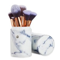 Marble Makeup Brush Set with Brushes Holder Pot Premium Synthetic Foundation Powder Concealers Blending Eye Shadows Face Make up Brush-Sets(10 Pcs)