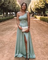One Shoulder Satin Evening Dresses 2022 Sleeveless High Split Slit Formal Party Prom Gowns Simple Sweep