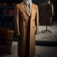 Lunghezza classica del pavimento soprabito da uomo Abbigliamento maschile Peaked Bavel Double Breasted Waver Blends Tweed Slim Fit Formale Business Giacca