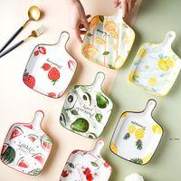 المقالي الخبز اليابانية مع مقابض الجبن الخبز عموم الإبداعية يستخدم لوحات السيراميك الفراولة فرحة الفاكهة صينية HWC6569