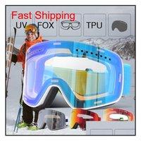 Защитные снаряжения Спорт на открытом воздухе Drop Доставка 2021 Jiepolly Brand Men Женщины Скейтборд Сноуборд Очки для УВ400 Снежные лыжные Очки Анти
