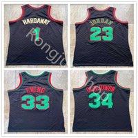 Человек подлинный сшитый ретро Mitchell Ness баскетбол трикотажные изделия Penny 1 Hakeem 34 Olajuwon Patrick 33 Ewing черный размер S-XXL