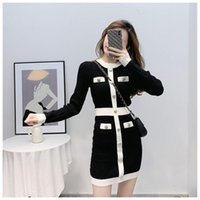 Casual Dresses Arrival Autumn Korean O-neck Long Sleeve Knitted High Quality Dress Women's Runway Slim Waist Bright Shinny Outfit Vestidos