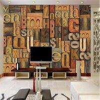 Обои Винтаж Кирпич 3D Стены Стены Английский Письмо Po Для Постельных принадлежностях Дома для подсветки Дома Декор