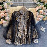 Women's Blouses & Shirts Retro top loop of vintage snakeskin standard female shirts Autumn shirt o mesh lantern jacket casual outwear EZ5T