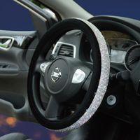 Steering Wheel Covers Winter Plush Crystal Car Cover Diamond Rhinestone Wheels Cap Universal Accessories Decorating