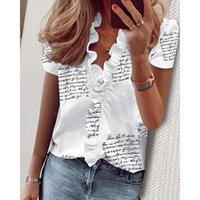 Women's Blouses & Shirts 2021 Plus Size Women Summer Short Sleeve Ruffles Letter Floral Print Slim Shirt Femme V Neck Tops Sexy Clothes SJ58