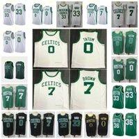 75th City Earned Edition Jayson 0 Tatum Basketball Jerseys Larry 33 Bird Jaylen 7 Brown Men Stitched Size S-3XL