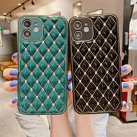 Caso do iPhone 12 pro máximo mini 11 xs x 10 grade estrutura de couro macio para mulheres linhas douradas diamantes bling