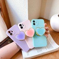 Линза Камера защита Телефонов Чехлы с любовью Сердце Бакстанда для iPhone 12 11 Pro Max XS XR 7 8 плюс Конфеты Цвет Мягкая крышка