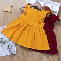 Ins Baby Girls Dress Abbigliamento per bambini 2021 Summer Schiuma Rassello Manicotto Principessa Dress Skirt Skirt Slitta fly Tutu Party Abiti da compleanno H237SDG