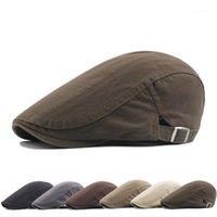 New Men's Hat Berets Cap Golf Driving Sun Flat Cap Fashion Cotton Berets Caps for Men Casual Peaked Hat Visors Casquette Hats1