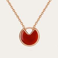 Högkvalitativ mode sterling silver amulett halsband damer diamant rund hängande clavicle chain med utsökt presentförpackning
