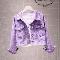 Women's Jackets 2021 Short High Waist Denim Jacket Female Candy Color Long Sleeve Jeans Girls Students Casual Jean Coat Autumn Coats