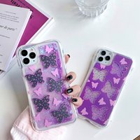 Sıvı Quicksand Yumuşak Kılıf iphone SE Kılıf 11pro Max XS Max XR 7 8 6 Artı Dinamik Kelebek Desen Bling Glitter Telefon Kapak