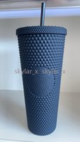 New 2021 Starbucks Double Blue Durian Laser Straw Cup 710ML Mermaid Plastic Cold Water Coffee Cup Gift