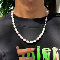 Chains Ingemark Kpop Oval Pearl Choker Necklace For Women Boho Male Rainbow Color Beads Chain Necklaces Collar Halloween Y2k Jewelry