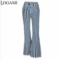 Plus Size Pants LOGAMI 2XL 3XL Striped Stretch Women High Waist Flared Wide Leg Women's Trousers Loose Pockets