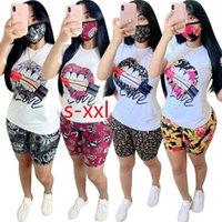 Delle donne Casual Tracksuits Fashion Summer Donne Pantaloni sportivi 2 pezzi Set Set Lip Stampato Manica corta Outfits Plus Size S-XXL
