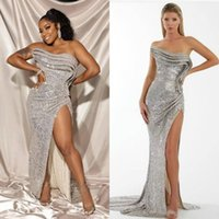 2021 Plus Size Arabic Aso Ebi Silver Stylish Sexy Prom Dresses Sequined High Split Evening Formal Party Second Reception Bridesmaid Gowns Dress ZJ353