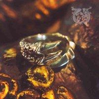Lotus Fish Mountain und Griff Ukiyo Stil Biest Kaluro Rosefinch Claw 925 Sterling Silber Ring einstellbar