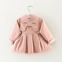 Dziecko berbeć dziewczyny teench płaszcze wiosna klapel pasa wiatrówka płaszcz wierzchniej kurtka dziecięce ubrania