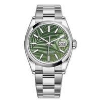 أحدث نسخة الساعات ناعمة الحافة datejust الأخضر الطلب الأخضر الصلب رجل 36mm الياقوت ووتش التلقائي الميكانيكية الفولاذ المقاوم للصدأ الفيروز الدائمة 124300