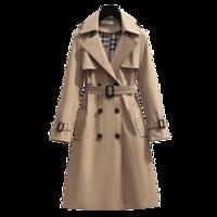 مصممون S - 4xl ربيع انكلترا نمط المرأة سترة واقية فضفاضة متوسطة وطويلة معطف حزام أنيق الإناث عارضة معطف خندق طويل