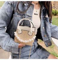 Evening Bags Straw Tote Shoulder For Women 2021 Casual Street Style High Quality Mini Handbags Pearl Chain Sac De Luxe Femme