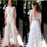Bohemian Lace Jumpsuits Overskirts Wedding Dresses Bridal Gowns Appliqued Long Sleeve Vestidos De Novia
