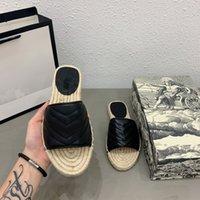 Kadınlar Deri Espadrille Sandal Slayt Tasarımcısı Sandal Yüksek Kalite Gerçek Deri Kordon Platformu Çift Donanım Açık Plaj Slaytları