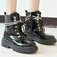Boots Autumn And Winter Short Women's Rubber Sole Thick Bottom Middle Heel Round Head Square Lace Up Solid Color Low
