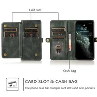 luxury pu leather Split magnetic Phone Cases For iPhone 13 12 Mini 11 Pro XR XS Max X 8 7 Plus Multiple card slots flip stand wallet designer skin Solid color cover Case