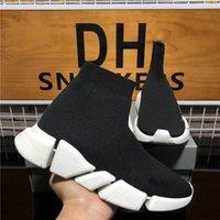 En Kaliteli Örgü Çorap Ayakkabı Örgü Hız Eğitmen Yüksek Yarış Koşucular Erkek Tasarımcı Sneaker Siyah Beyaz Kayma Üçlü S Casual Platform Trainers Sneakers KUTUSU