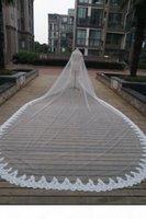레이스 가장자리 3 * 6 미터 웨딩 베일 대성당 길이 긴 신부 베일 웨딩 베일 배송 DHL
